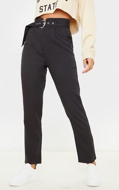 Black Belted Tapered Leg Trouser