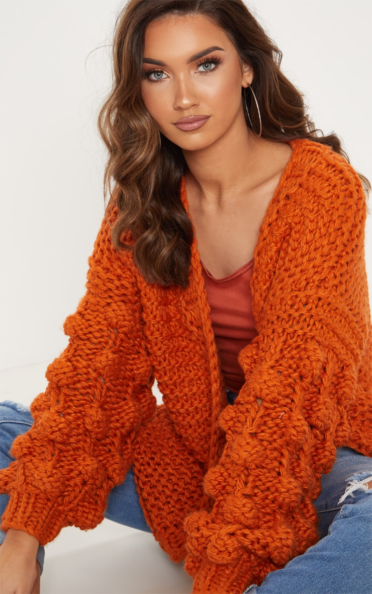 Rust Midi Length Bobble Sleeve Knitted Cardigan 5
