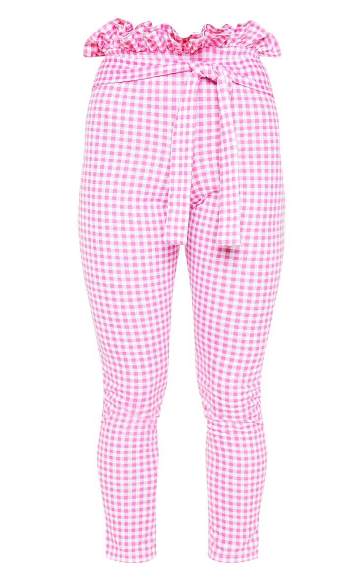 Fuchsia Gingham Paperbag Waist Skinny Pants  3