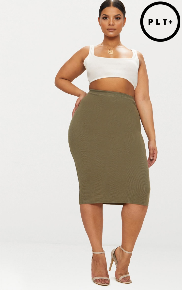 Plus Khaki Ribbed Zip Detail Midi Skirt 1