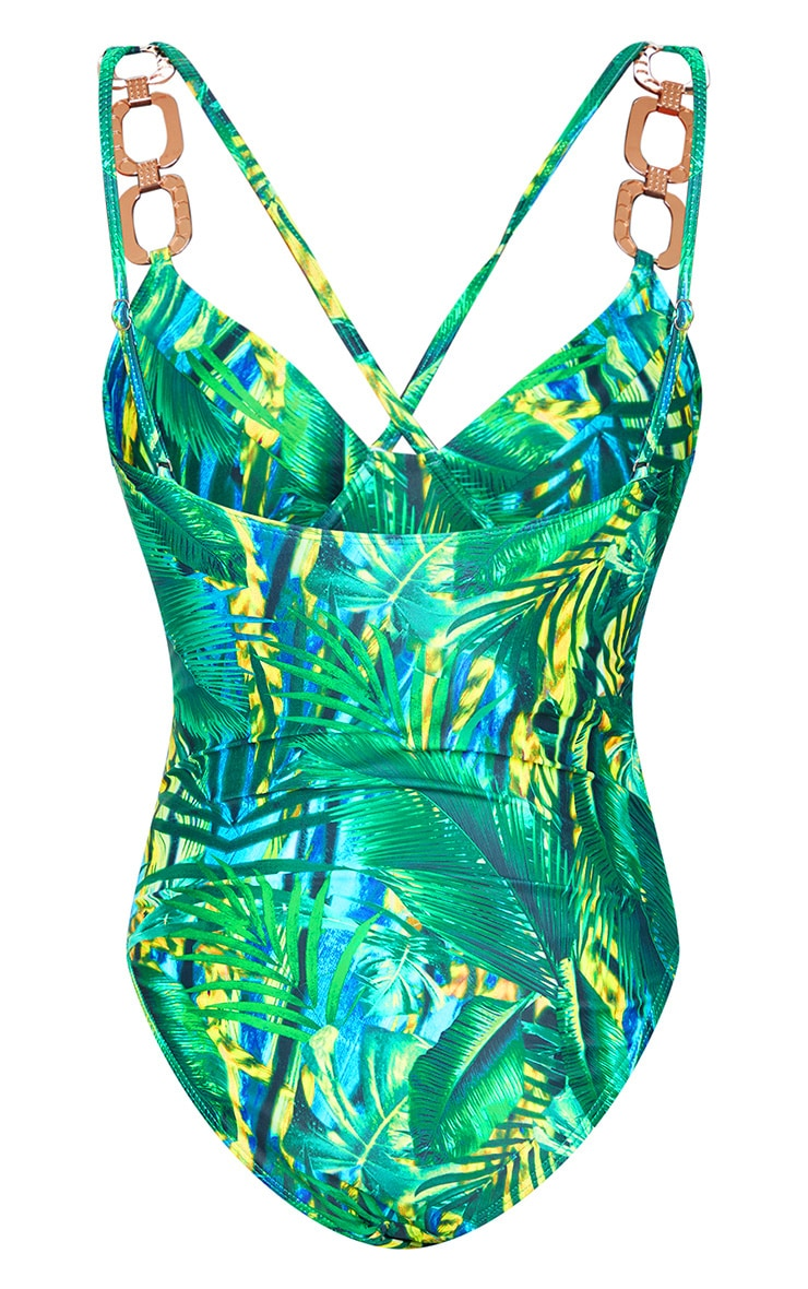 Plus Green Tropical Gold Trim Underwired Swimsuit 2