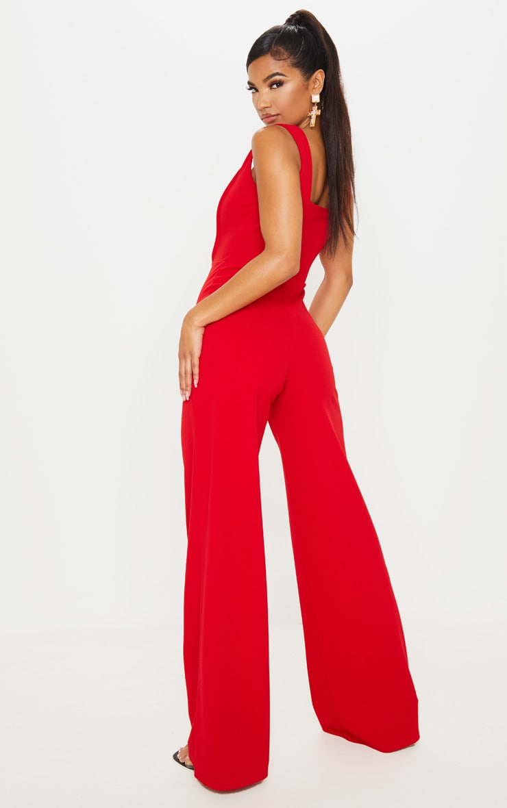 Red Square Neck Corset Jumpsuit 4
