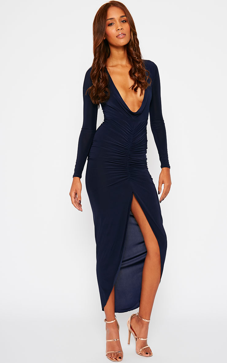 Ellie Navy Slinky Ruched Maxi Dress 1