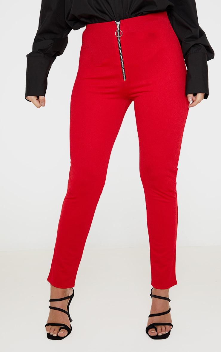 Red Zip Detail Skinny Pants 2
