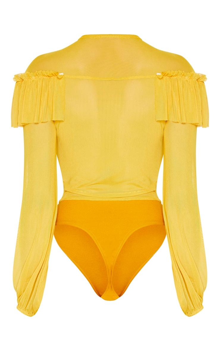 Tall Chartreuse Ruffle Mesh Plunge Bodysuit 4