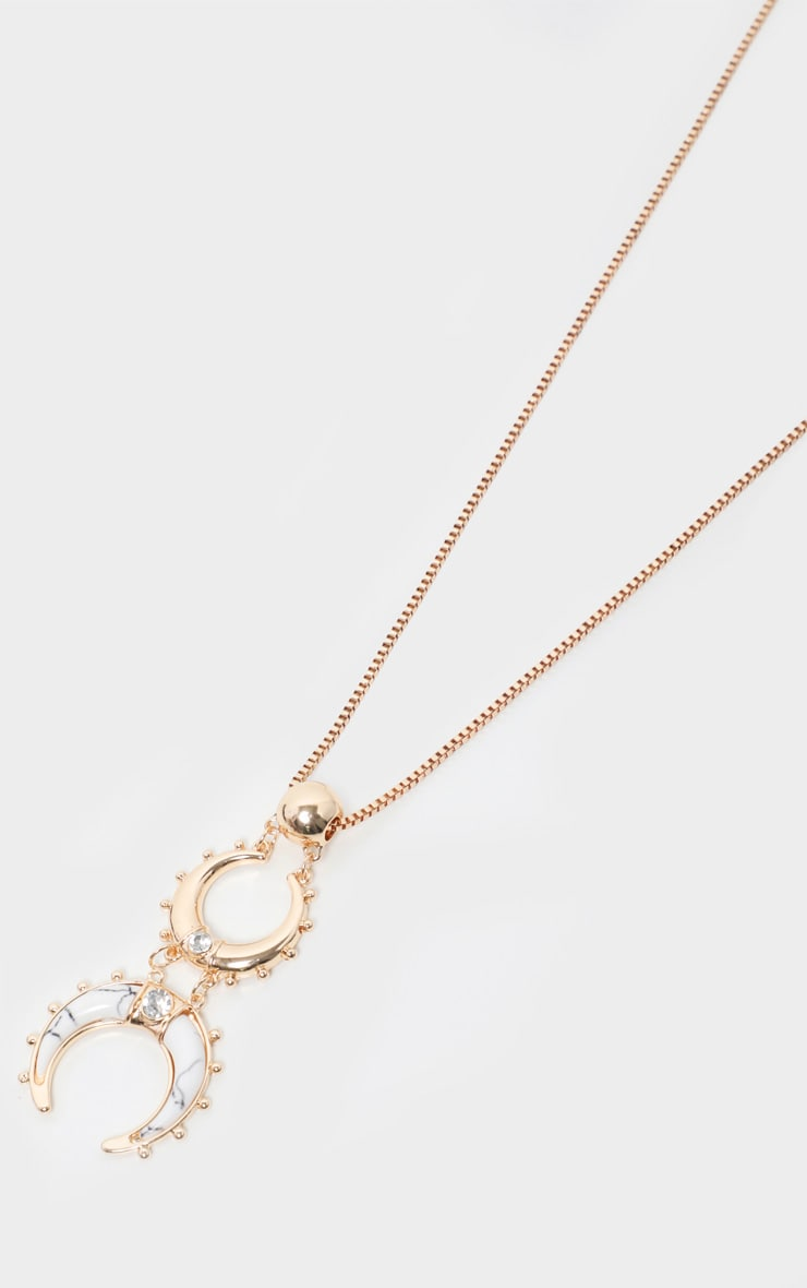 Gold Cresent Moon Statement Drop Necklace 3