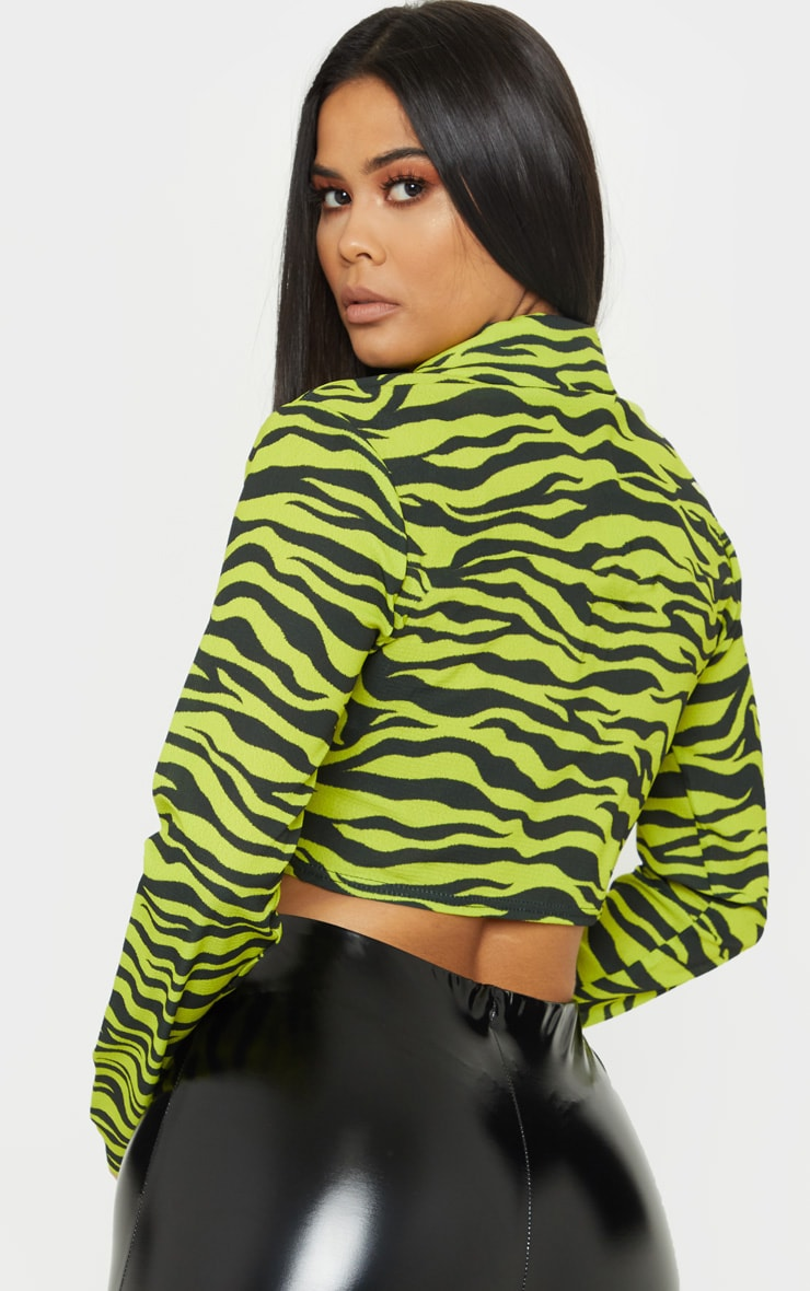 Neon Lime Zebra Printed Crop Shirt 2