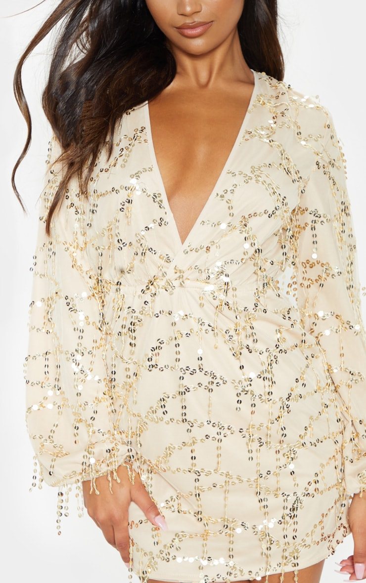 Gold Plunge Sequin Long Sleeve Bodycon Dress 6