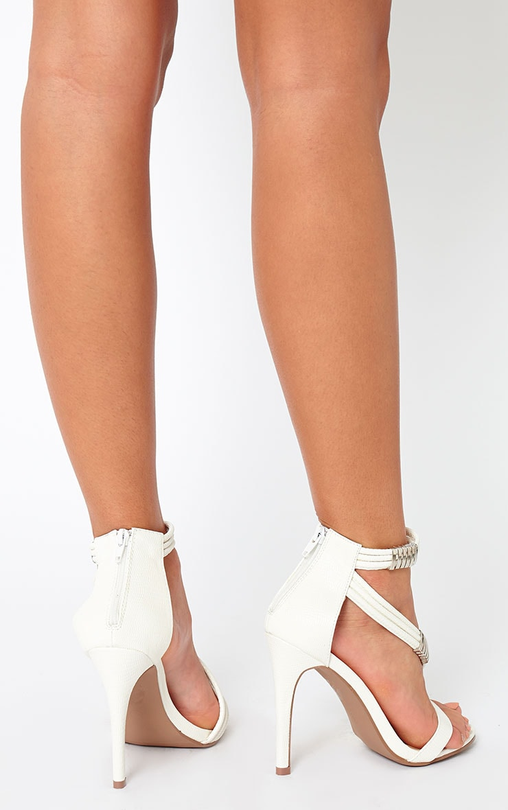 Riley White Cross Strap Heeled Sandals 3