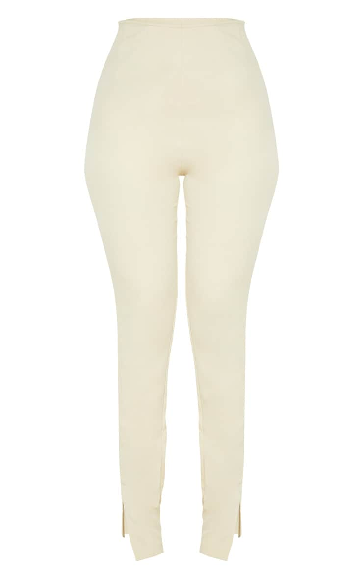 Beige Woven High Waisted Split Hem Skinny Trouser 3