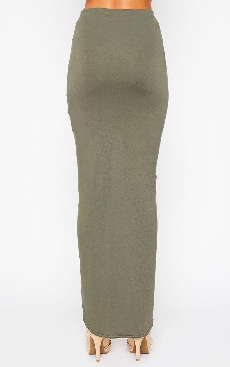 Omari Khaki Ruched Front Jersey Maxi Skirt 4
