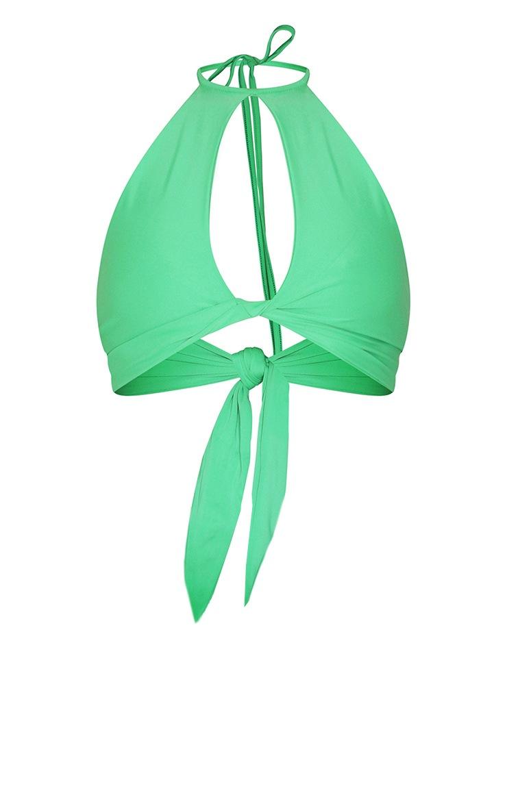 Green Twist Front Keyhole Bikini Top 5