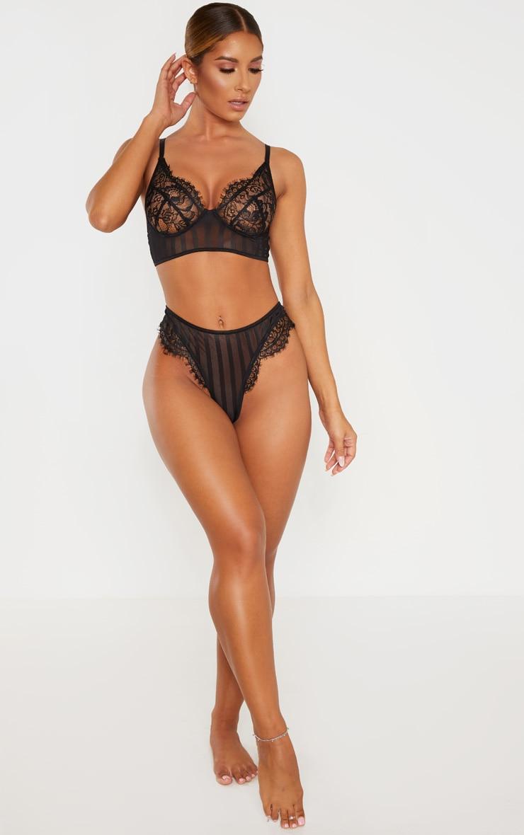 Black Striped Lace High Leg Thong  4