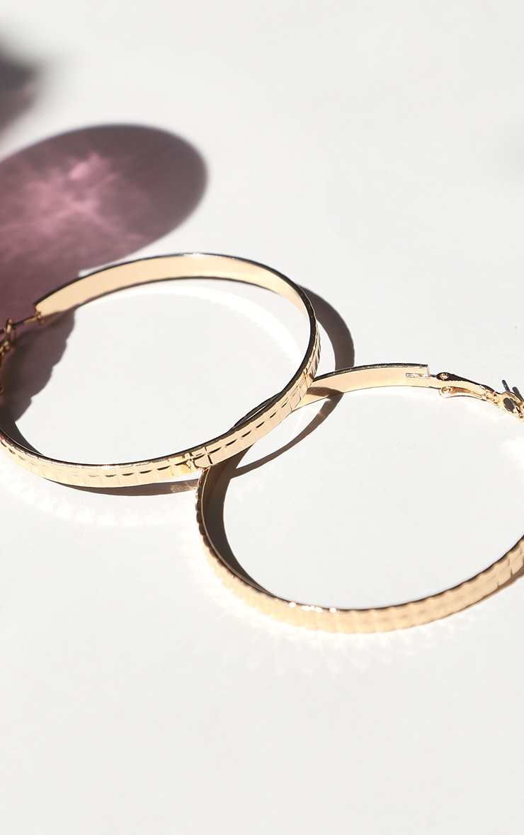 Gold Square Textured Medium Hoop Earrings 2