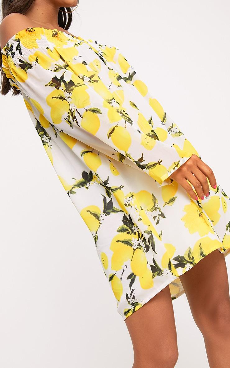 Sabree Yellow Lemon Printed Bardot Shift Dress 5