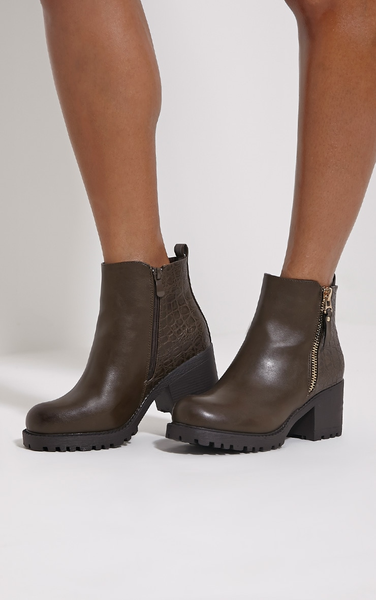Maddie Taupe Croc Heeled Ankle Boots 1