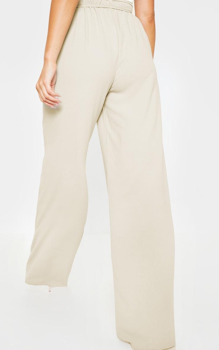 Stone Tie Waist Detail Extreme Wide Leg Pants 4