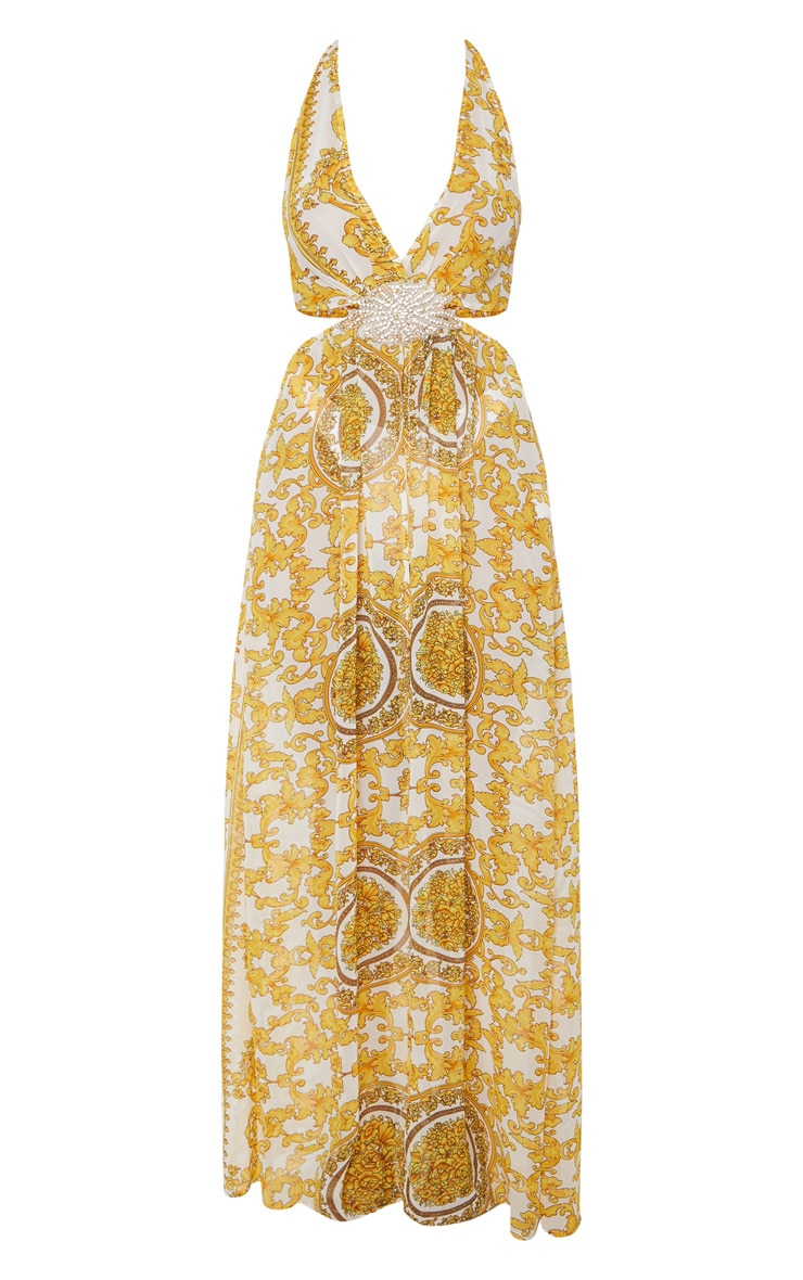 White Chain Print Diamante Beach Dress 3
