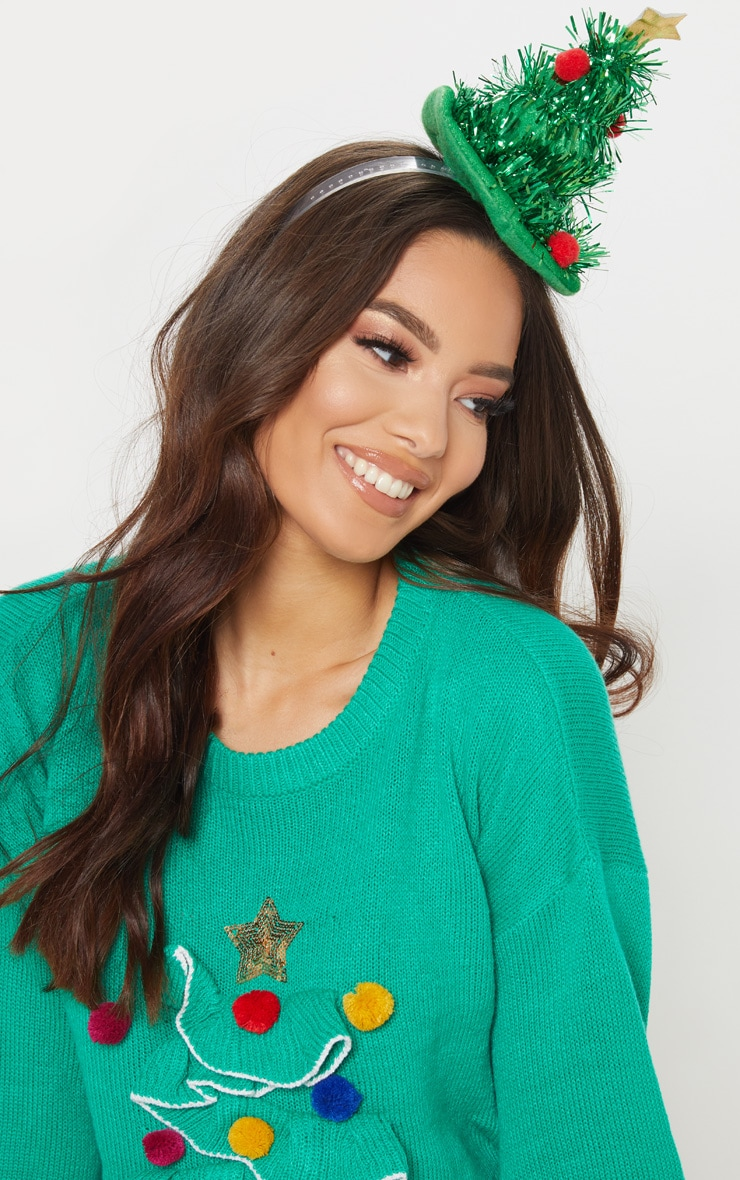 Green Tinsel Christmas Tree Head Band