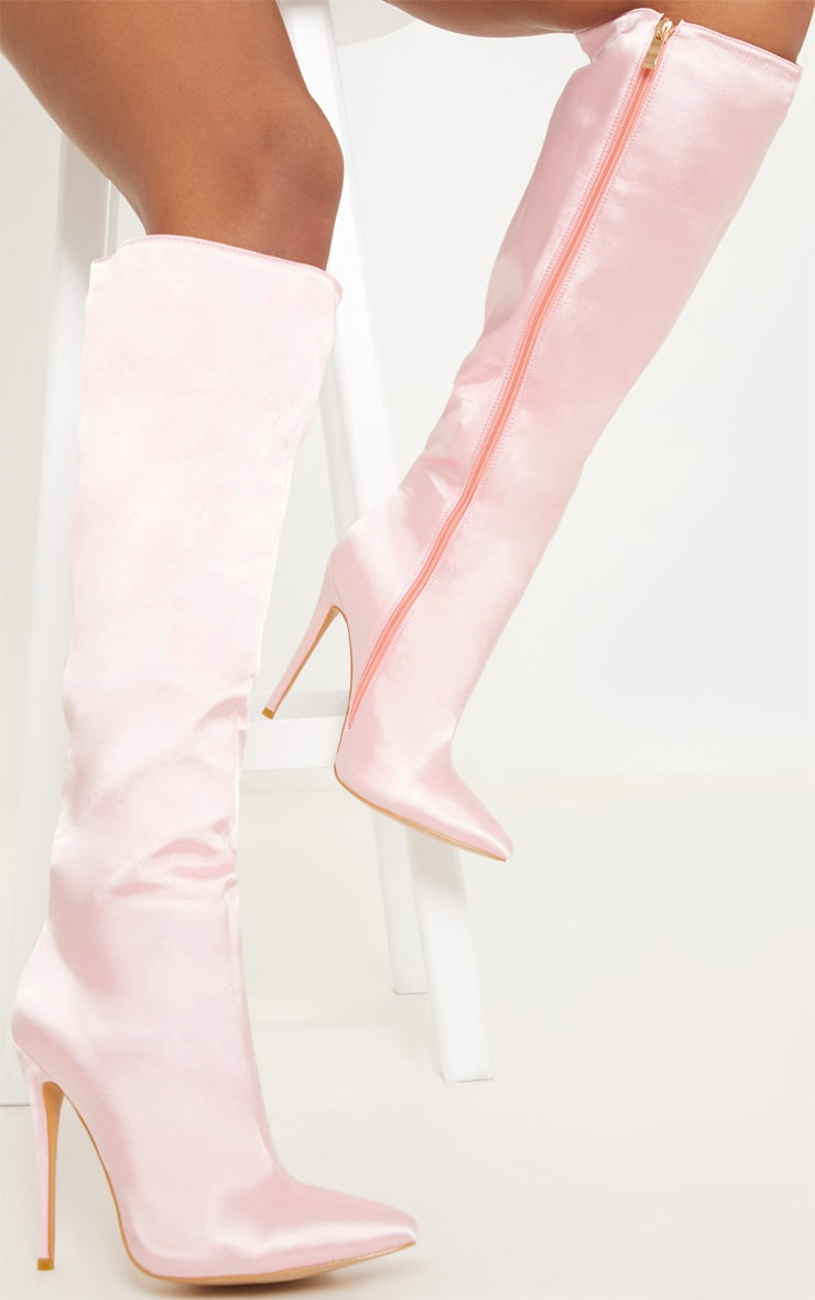PINK SATIN KNEE HIGH POINT BOOT