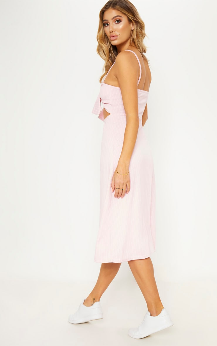 100% Original PRETTYLITTLETHING Pastel Pinstripe Tie Front Extreme Split Midi Dress Free Shipping Low Shipping Fee New Styles Cheap Online Discount Visa Payment 4GSsRy0
