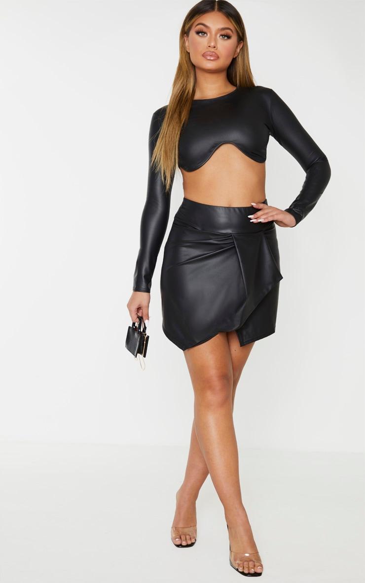 Black Coated Drape Detail Mini Skirt 4