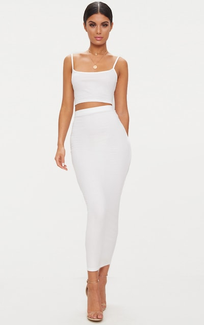 Cream Jersey Midaxi Skirt