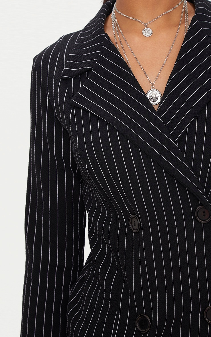 Black Pinstripe Double Breasted Blazer 5