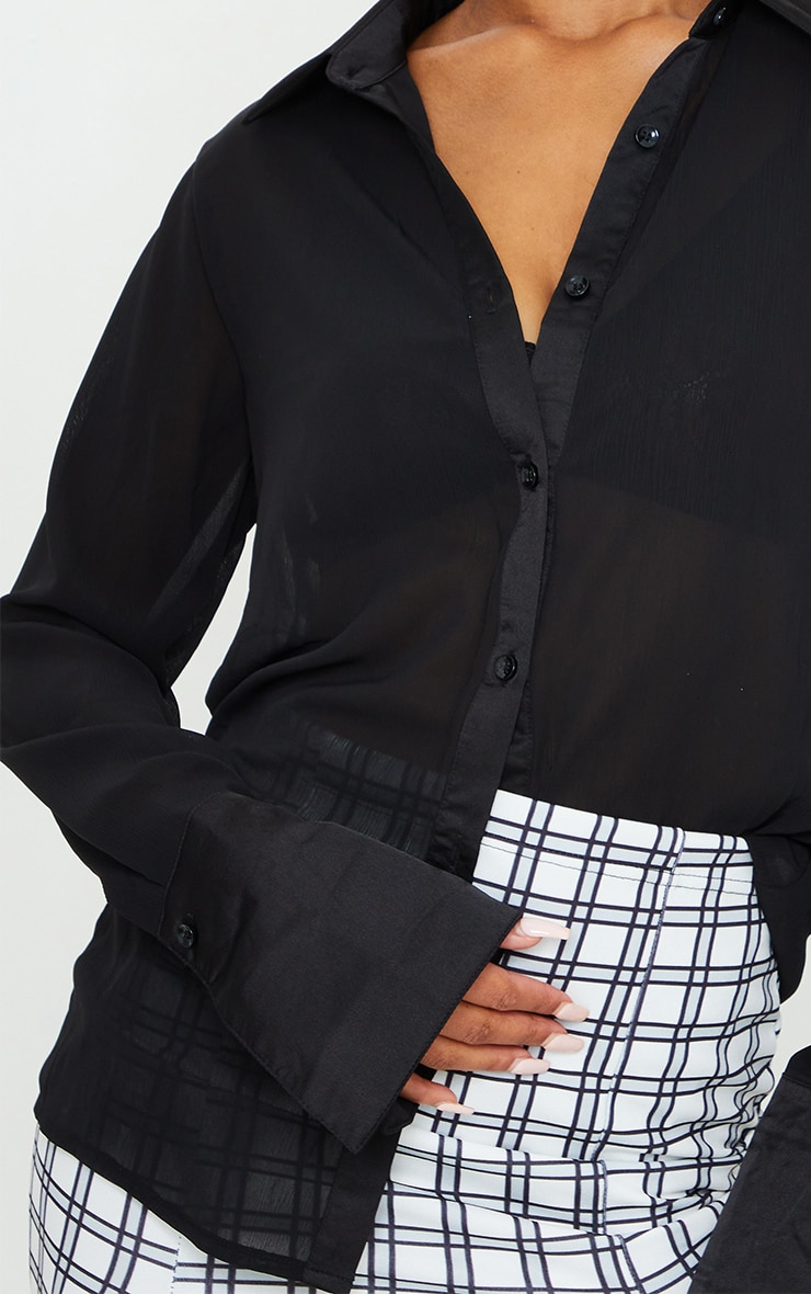 Black Woven Crinkle Textured Shirt 4