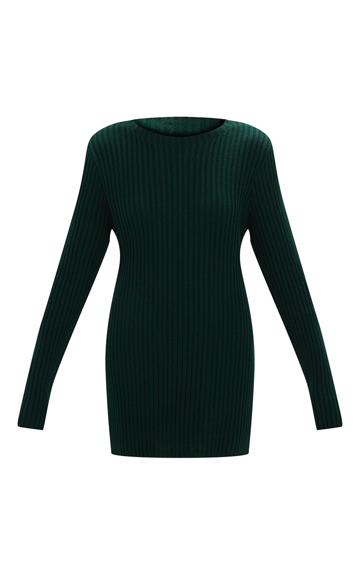 Forest Green Round Neck Side Split Knitted Jumper 3