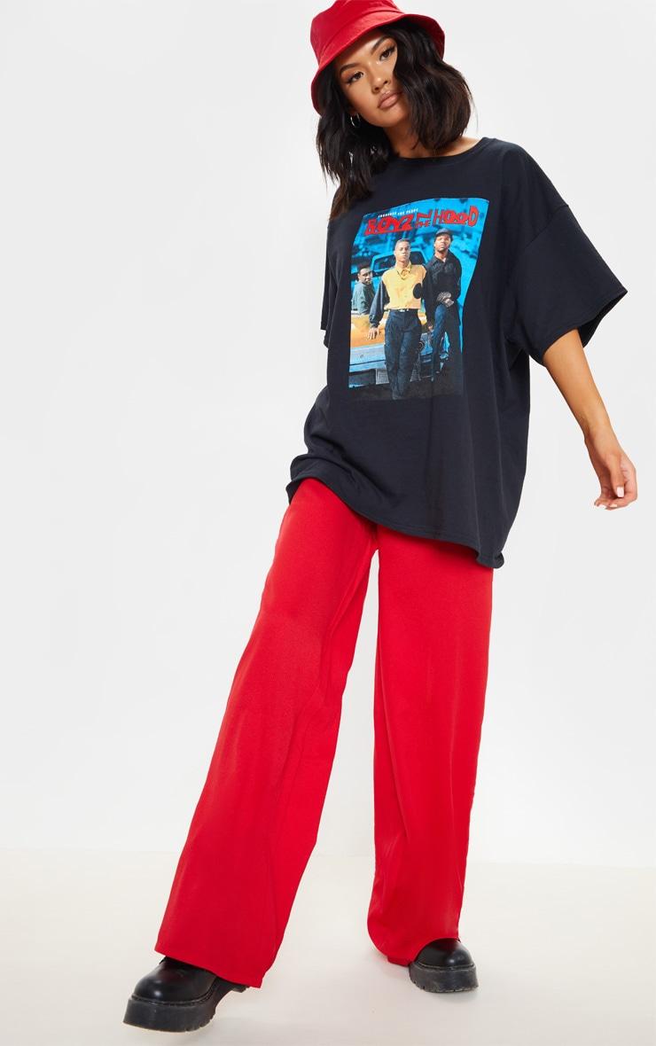 Black Oversized Boyz N the Hood Print T Shirt 4
