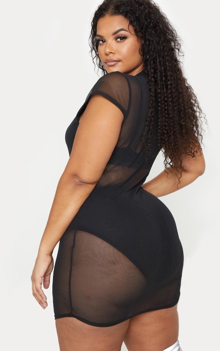 Plus Black Cap Sleeve Mesh Bodycon Dress 2