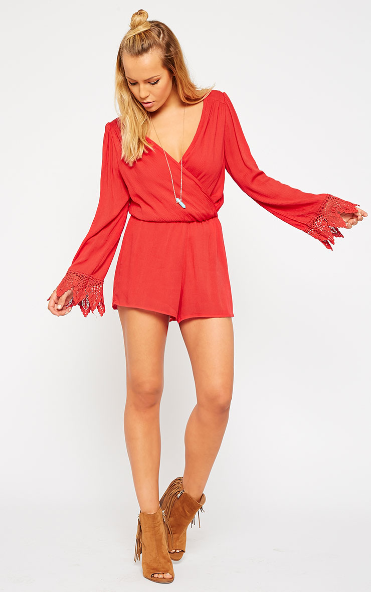 Marketta Red Wrap Front Crochet Cuff Playsuit 3