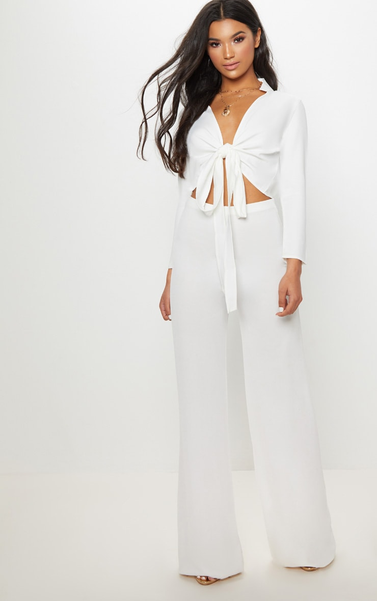 Blanche White Tie Front Long Sleeve Crop Blouse 4