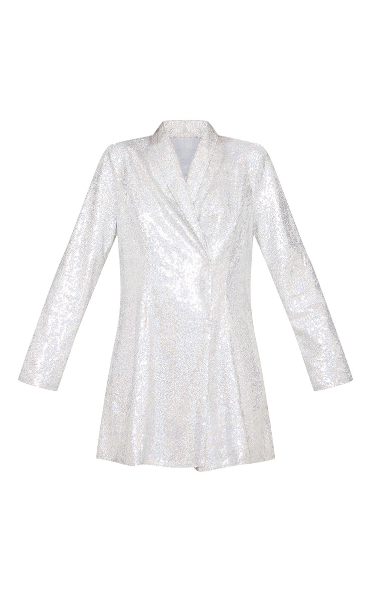 Silver Sequin Oversized Blazer Dress 5