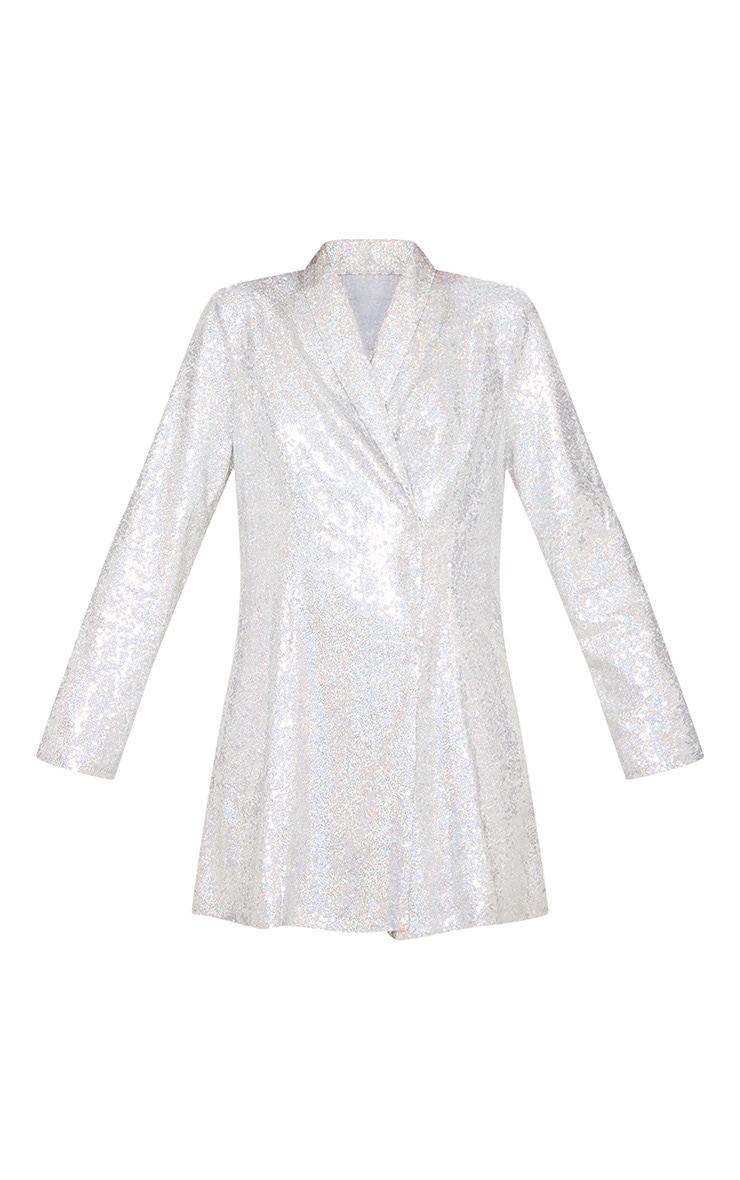 Silver Sequin Oversized Blazer Dress 5
