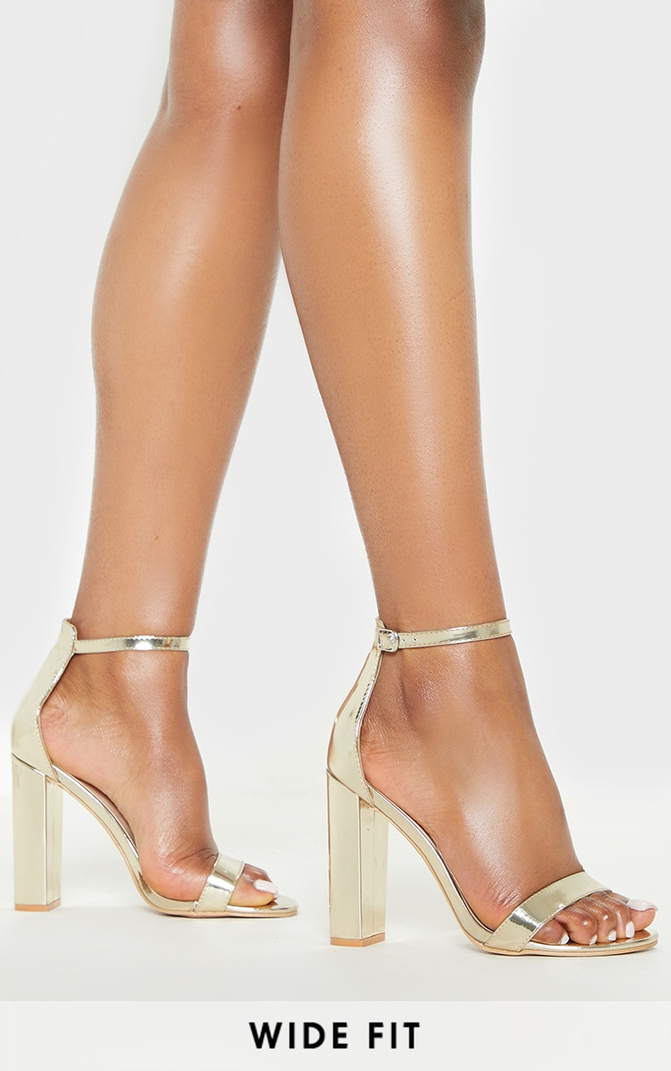 Gold Wide Fit Block Heeled Sandals 1