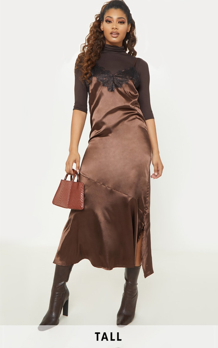 fa6bbd68a575 Tall Brown Satin Lace Trim Cami Midi Dress image 1