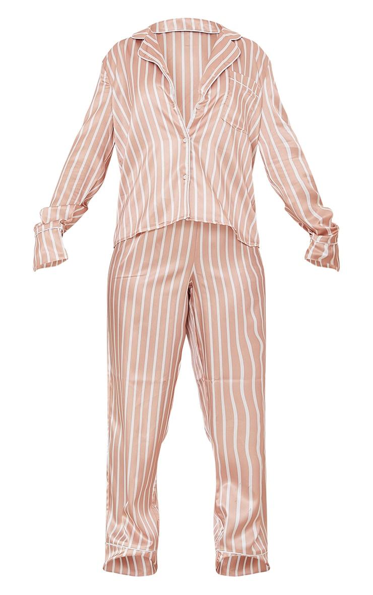 Nude And White Stripe Satin Long PJ Set 5