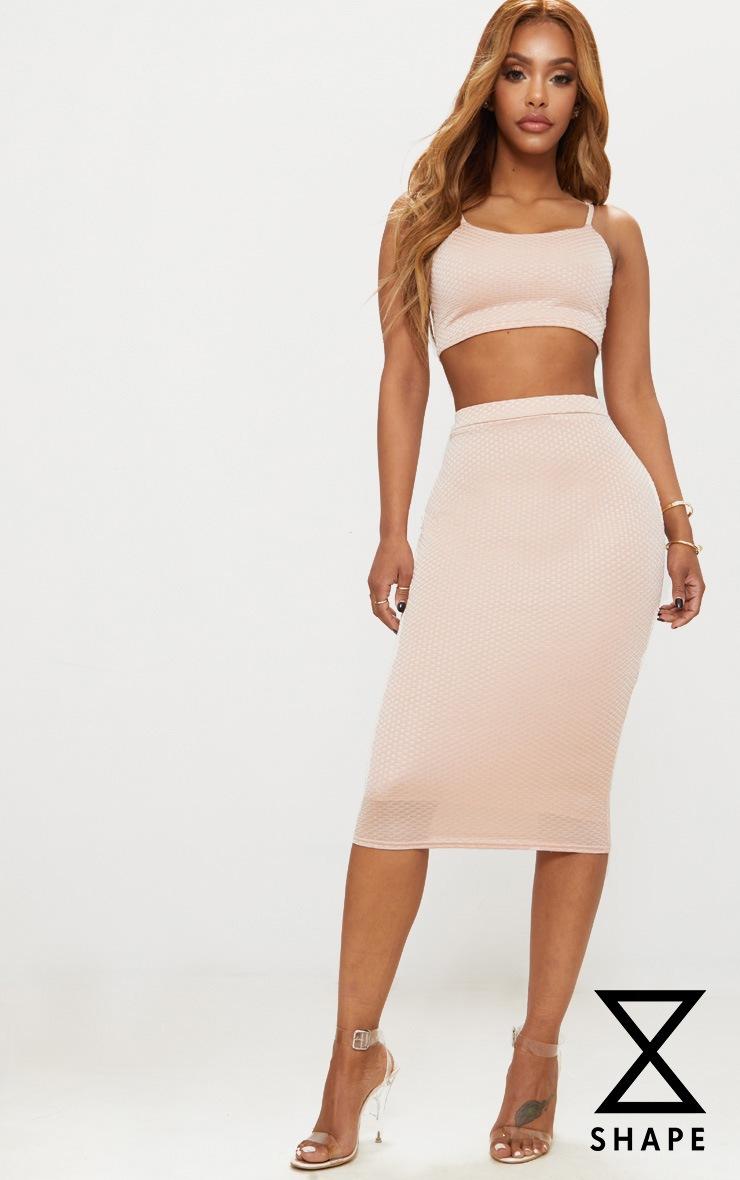 Shape Champagne Textured Midi Skirt 1