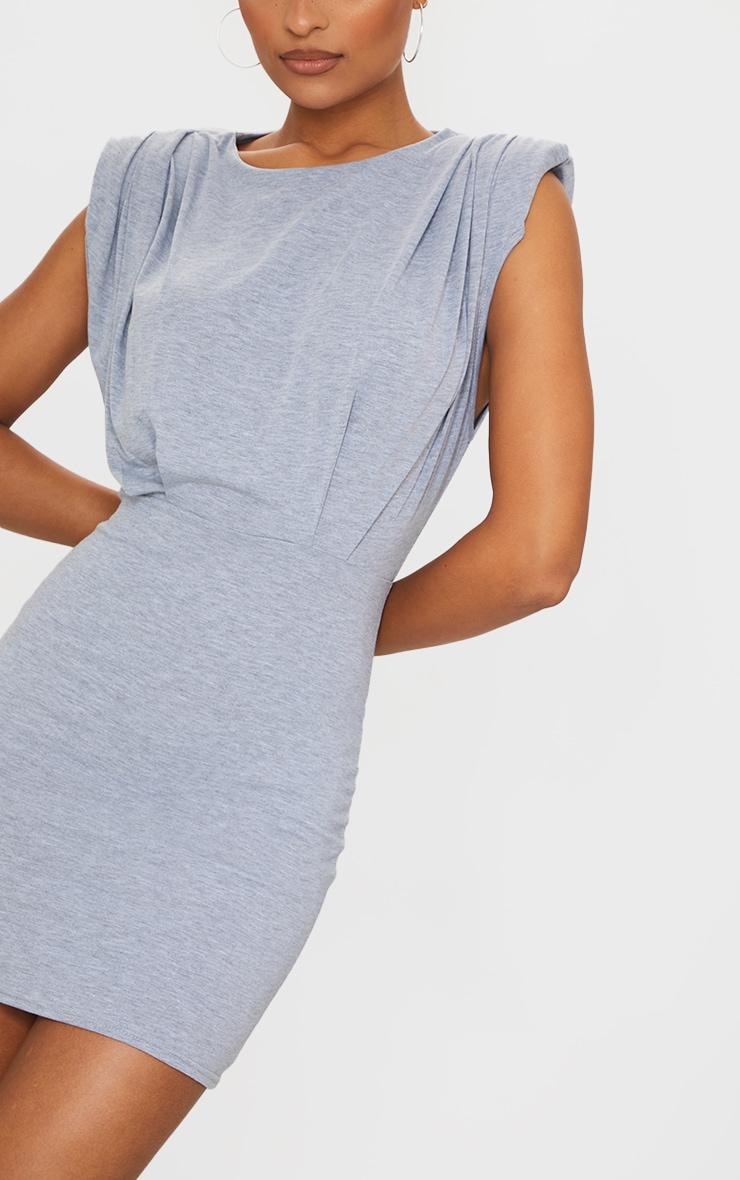 Grey Shoulder Pad Gathered Detail Bodycon Dress 4