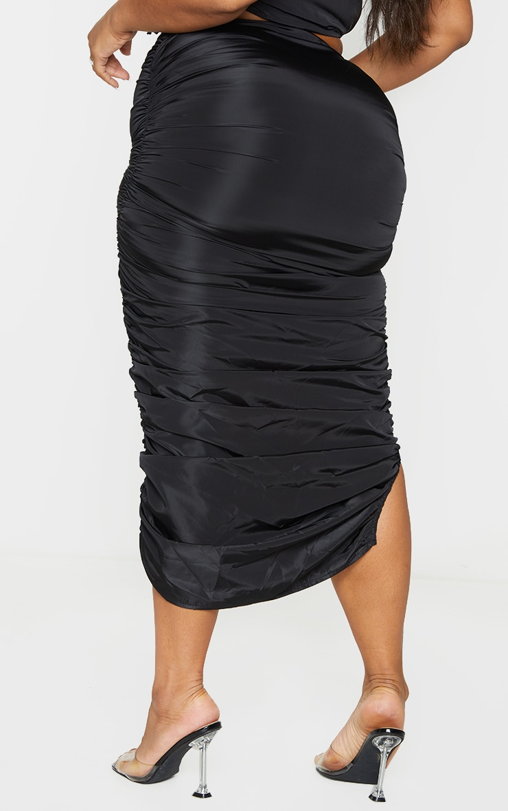Plus Black Shell Ruched Front Midi Skirt 3
