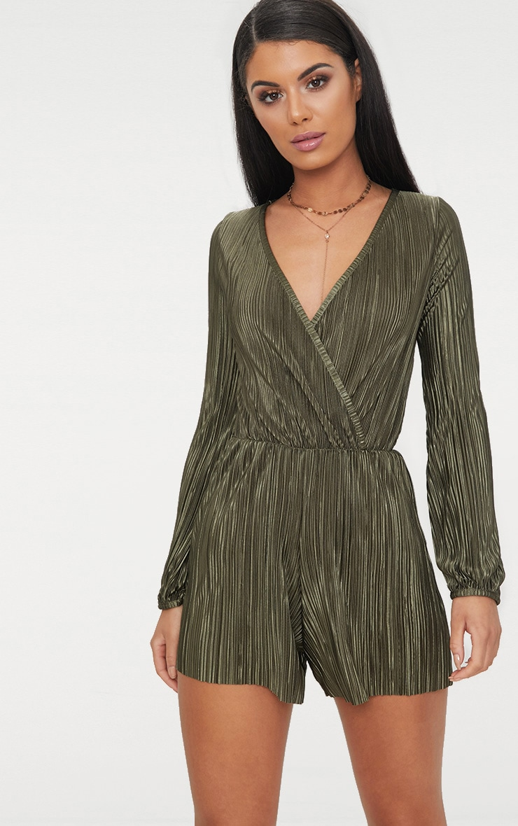 Khaki Pleated Long Sleeve Wrap Playsuit