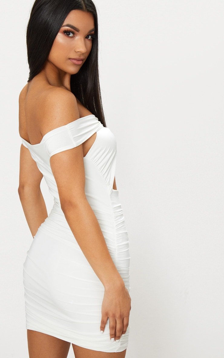 White Slinky Ring Detail Bardot Ruched Bodycon Dress  2