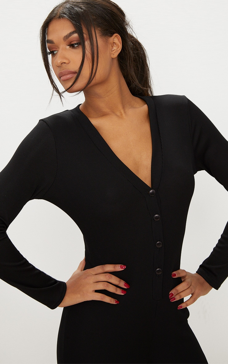 Black Ribbed Button Detail Onesie 5
