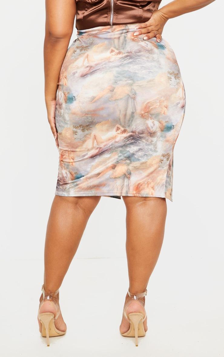 Plus Nude Renaissance Print Split Front Midi Skirt 4