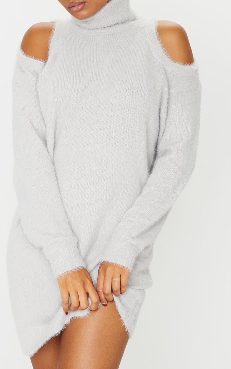 Grey Eyelash Knit Roll Neck Cut Out Jumper Dress 4