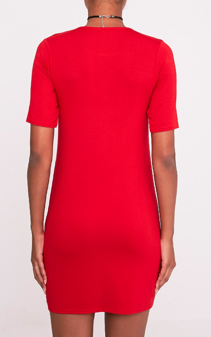 Basic robe t-shirt rouge à poche 2