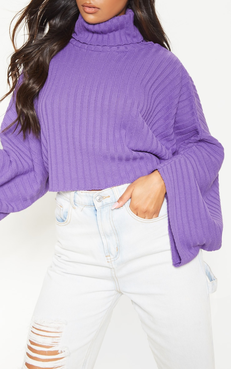 Purple Ribbed Knit High Neck Jumper  5