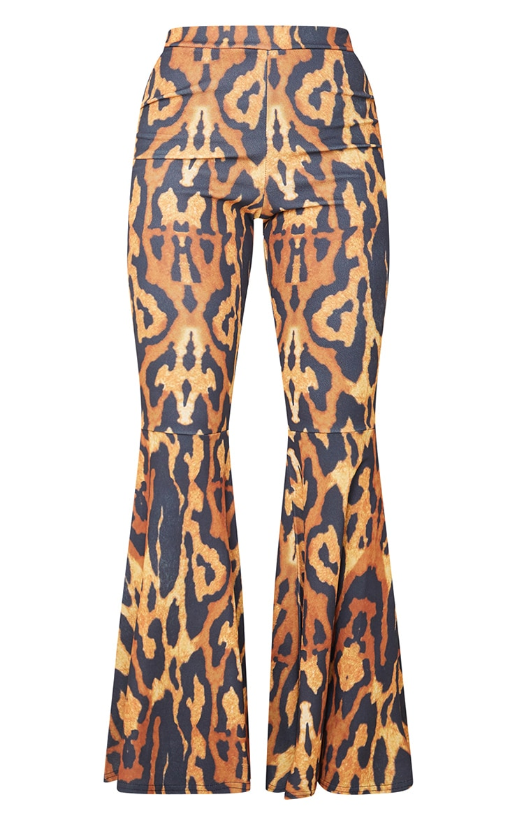 Brown Leopard Print Crepe High Waist Bell Flared Trousers 5